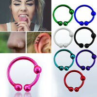 1-4PC Silver Wire Ball Bali Tribal Piercing 18g Nose Ear Lip Clip Illusion Hoop