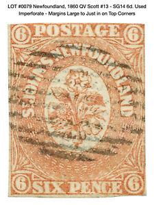0079: Newfoundland, 1860 QV Scott #13 - SG14 6d. Used