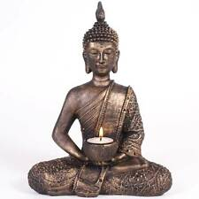 Large Meditating Thai Buddha Statue Tealight Holder Bronze Gold Ornament Figure