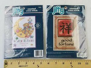 LOT of 2 Sunset Jiffy Cross Stitch Kits 16713 Good Fortune, 16625 A Star is Born