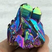 UK_Natural Quartz Crystal Rainbow Titanium Cluster VUG Mineral Specimen Healing