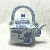 Vintage Chinese Teapot Hand Painted Blue and White China Decorative Ornament