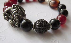 Dragon Onyx Carnelian Agate Black Crystal Unisex Stretch Bracelet