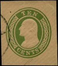 #U16 Used Cut Square Xf+ 10¢ Green, Buff Cv $90.00 Bp8538