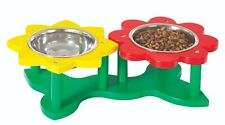 Dog and Cat Pet Feeder 2 Double Bowl Raised Water Food Twin Dish Stainless Steel