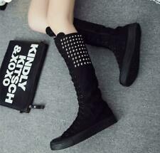 Women Girl Lace Up Rivet Punk Gothic Canvas Knee High Boots Trainers Dance Shoes