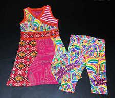 NEW Desigual ADEMUCERO Zebra Rainbow Dress & NAUNA Zebra Capri Leggings Set 7-8