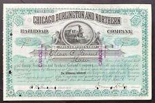 CHICAGO, BURLINGTON & NORTHERN RAILROAD Stock 1888 IL. J. Murray Forbes SIG VF++