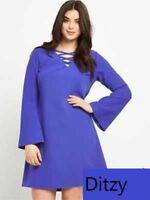 BNWT So Fabulous Blue Cross Front Bell Sleeve Tunic Dress Size 20 RRP £50