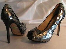 L.A.M.B. Gwen lady-6 stiletto skinny heel pump platform open toe black bronze