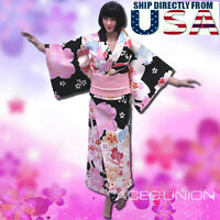 "1/6 Women Kimono Dress BLACK For 12"" Phicen Hot Toys Female Figure U.S.A. SELLER"
