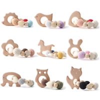 Baby Teether Bracelet Rattle Natural Wooden Crochet Beads Teething Sensory Toys