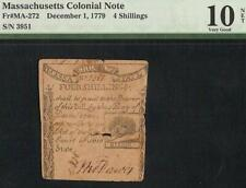 Dec 1, 1779 Massachusetts Colonial Currency Note Old Paper Money Ma-272 Pmg 10