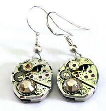 HIGH END STEAMPUNK Earrings Vintage ELGIN USA WATCH Movements Artist Designer