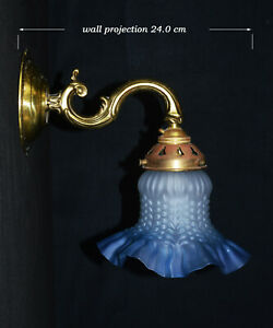 Brass 1950s antique wall light sconce handmade French tinted Opaline glass shade
