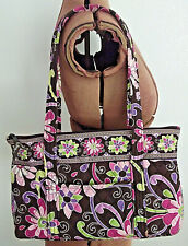"AS IS Quilted VERA BRADLEY 2 Handle ""PURPLE PUNCH"" 15"" x 9.5"" Zip SHOULDER PURSE"