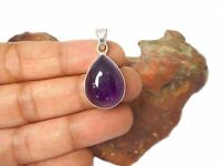 Teardrop shaped AMETHYST  Sterling  Silver  925  purple Gemstone  PENDANT