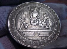 Hobo Nickel Style Morgan DOLLAR SIZE Silver Clad Coin -Time is Money - Nice- x1