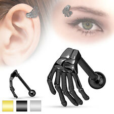 1 Pc Black Skeleton Hand Tragus Cartilage Barbell Eyebrow Ring 16g 5/16""