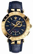 Versace Men's 29G70D282 S282 V-RACE GMT ALARM Gold IP Blue Leather Wristwatch