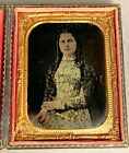 1/4 PLATE TINTYPE OF PRETTY YOUNG WOMAN WITH LONG CURLS + GOLD-ENHANCED JEWELRY