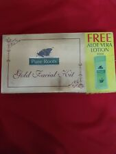PURE ROOTS HERBALS GOLD FACIAL KIT TREATMENT CLEANSER SCRUB GEL CREAM PACK 100GM