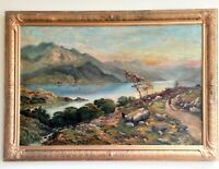 Victorian Oil Painting European Lake Mountain Landscape Monogram GKM 1873