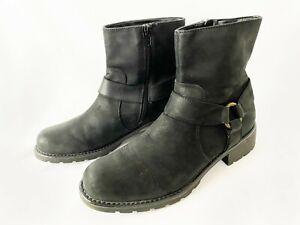 Clarks Women's Black Suede Leather Biker Mid-calf Boots Size 10 zipper closure