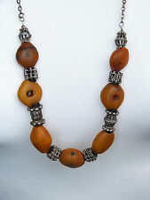 Antique Moroccan amber beads - Yemeni silver beads necklace - lozenge amber RARE