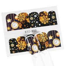 Nail Art Water Decals Stickers Christmas Snowflakes New Year Clocks Star (802)