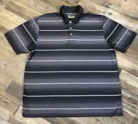 Mens PGA Tour Pro Series Black White Gray Striped Polo Golf Shirt Size 2XL Used