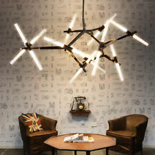 Modern Metal Chandelier Light Ceiling Fixtures Black Glass Branch Pendant Lamp