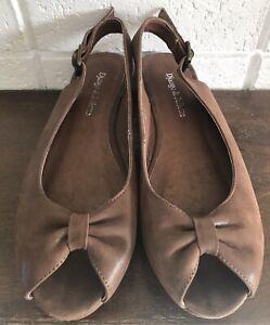 Django & Juliette Brown Suede Leather Slingback Peeptoe Low Heel Size 37 Inlet
