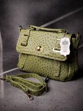 Vintage Tablet Messenger Bag Shoulder Bag Ostriches Embossing Green 22