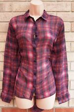 PRIMARK YELLOW PINK PURPLE CHECK TARTAN CHIFFON BUTTONED T SHIRT TOP BLOUSE 10