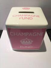 Champagne Fund Square Ceramic Money Box Coin Collection Party Fun Gift Girl Pink