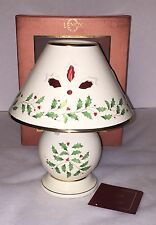 =Lenox Holiday Candle Lamp New in Box Holly & Berry Motif Gold Trim Christmas