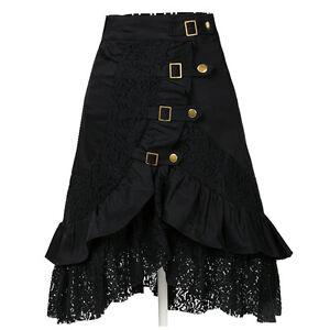 women's steampunk clothing party club wear punk gothic retro black lace skirt