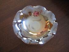 Carnival Glass Bowl Vintage Iridescent Amber Floral Design Fruit Serving Dish