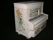 GROOVY VTG 1960's WOODEN TOY PLAYER PIANO MUSIC JEWELRY TRINKET BOX FLOWER POWER