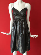 Vintage Topshop Strappy Metallic Grey Fit & Flare Cotton Tie Back Dress 10 Tall
