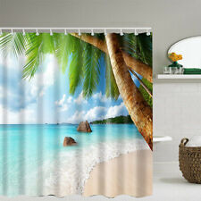 Bathroom Washroom Tropical Beach Palm Trees Shower Curtain w/ 12 Hooks  H