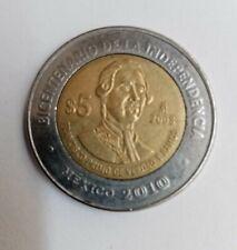 MEXICAN COIN $5PESOS FRANCISCO PRIMO DE VERDAD BICENTENARIO CON PUNTO 2010