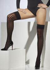 Adult Gothic Burlesque Black Striped Stockings