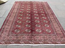 Vintage Old Traditional Hand Made Rug Oriental Maroon Wool Carpet 278x209cm