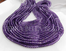 "13"" strand shaded deep purple AMETHYST faceted gem stone rondelle beads 4mm"
