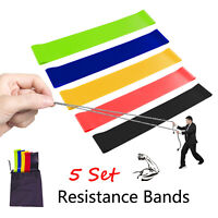 Resistance Loop Bands 5 Set Strength Fitness Gym Exercise Yoga Workout Pull Up