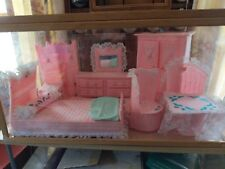 Hand Knitted Bedroom Set For Barbie Doll House (Pink)