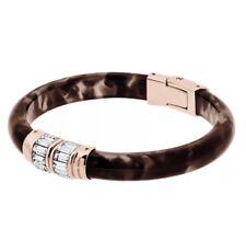 Michael Kors Jeweled Blush Rose Gold Tortoise Pave Hinge Bangle Bracelet