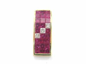 18Kt Gem Ruby Diamond Yellow Gold Jewelry Pendant 1.35Ct